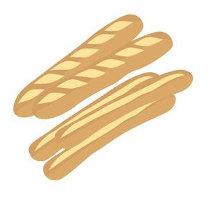 固いパンほどクズが出る。